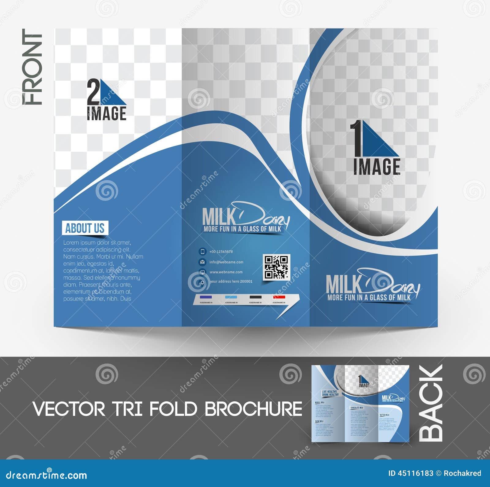 Product Tri Fold Brochure: Milk Store Tri-Fold Brochure Stock Vector