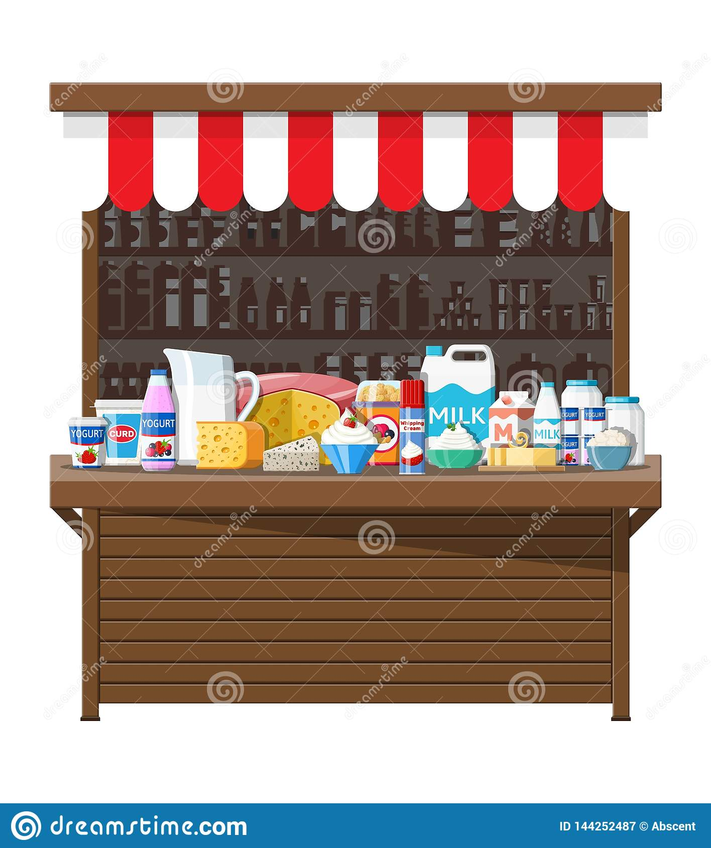Milk Street Market  Milk Store Stall  Stock Vector - Illustration of