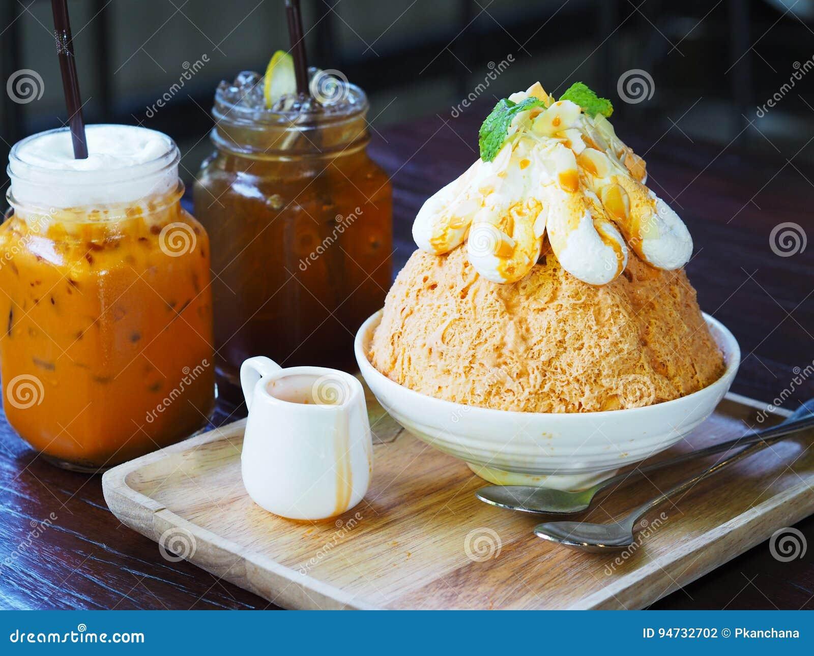 Milk Tea Bingsu Korean Dessert On Wooden Plate Stock Photo Image