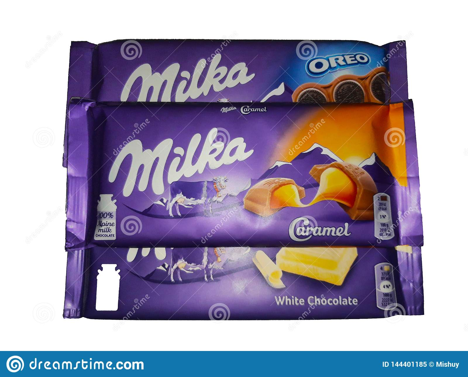 Milka chocolate on white background