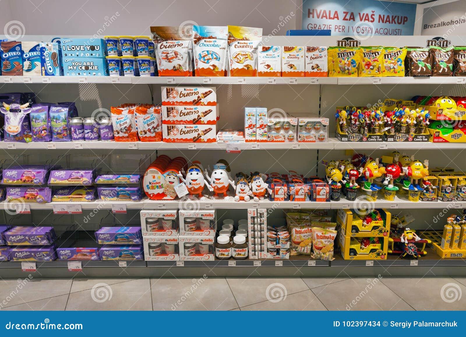 16f25b03e7f0d4 Chocolate Store Shelf In Travel Free Shop. Skofije