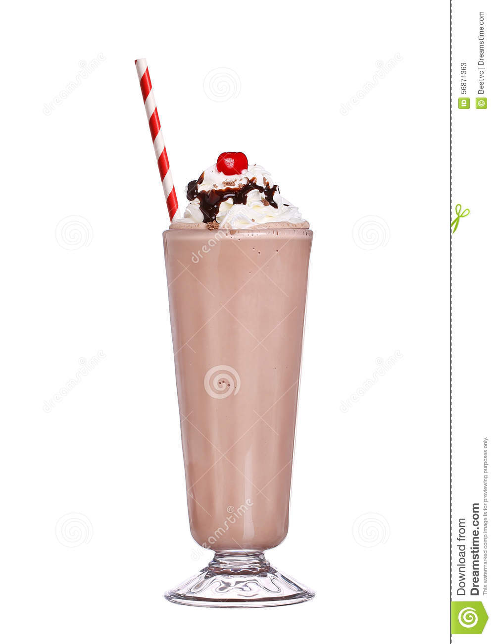 Milkshakes chocolate flavor with cherry on top and whipped cream