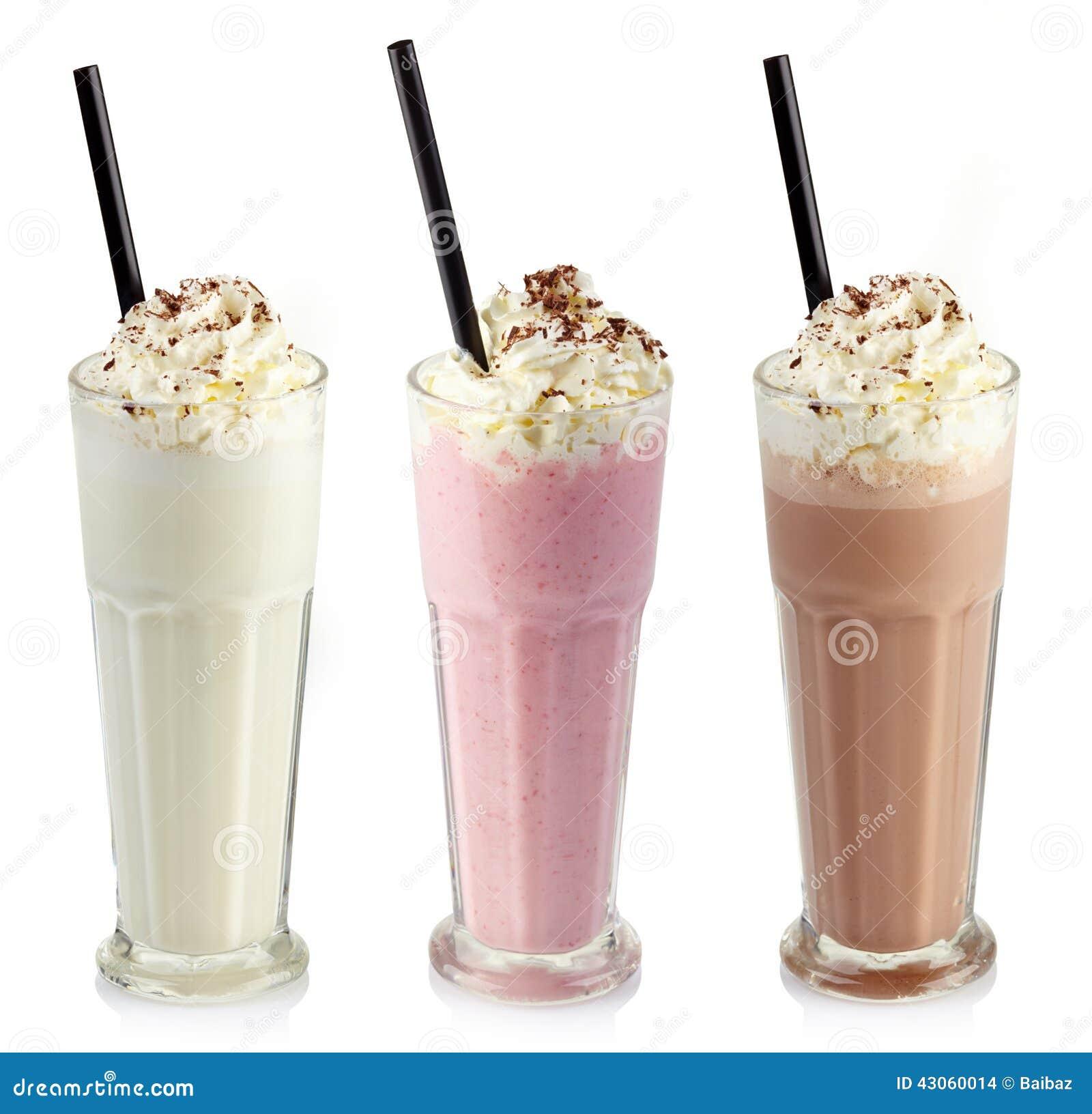 Three glasses of various milkshakes (chocolate, strawberry and vanilla ...