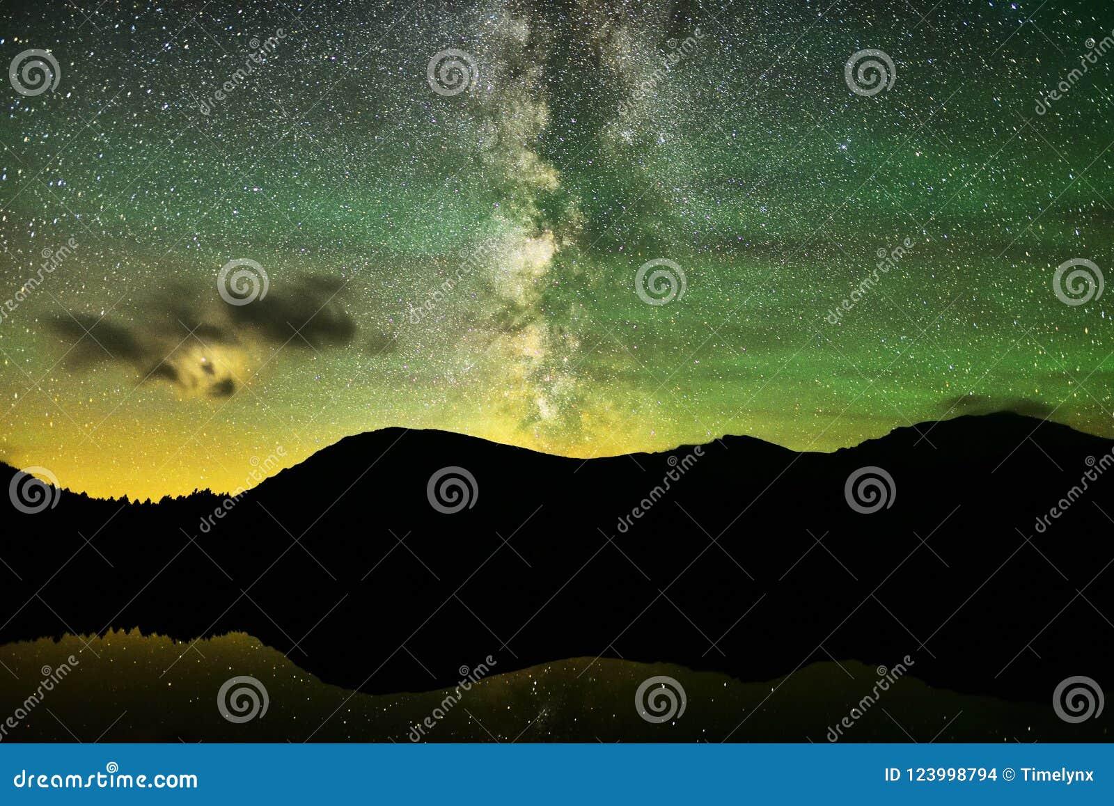Milky sposób nad wysokogórskim jeziorem
