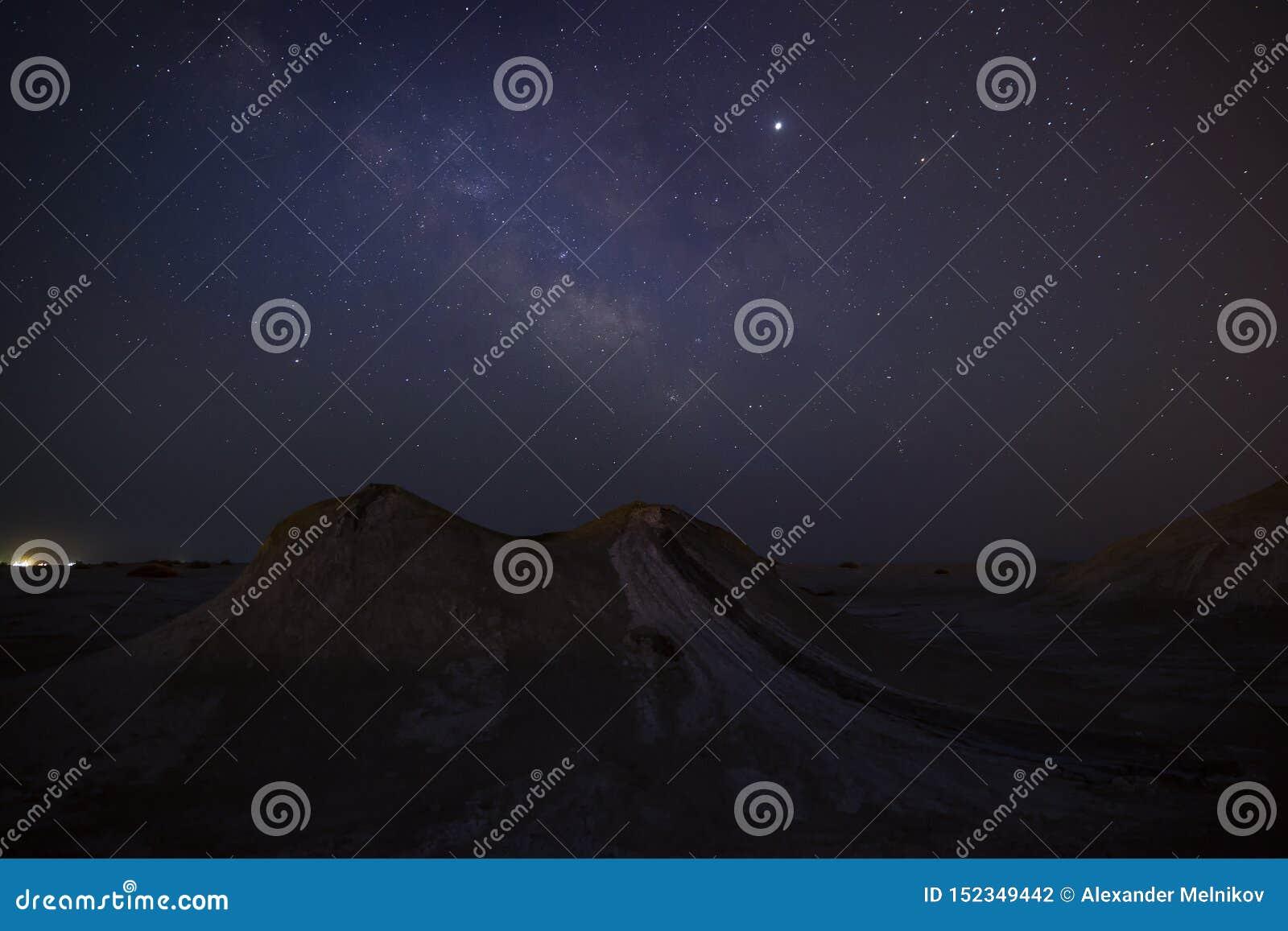 Milky Way over mud volcanoes