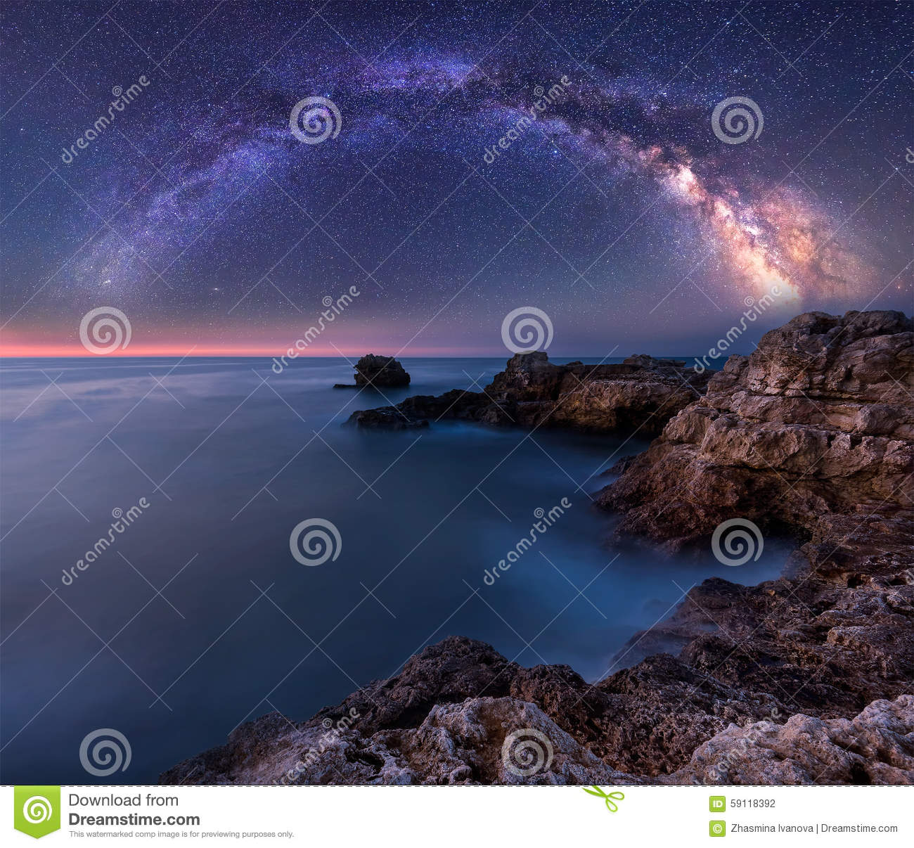 Download Milky Way over the sea stock photo. Image of beauty, nature - 59118392