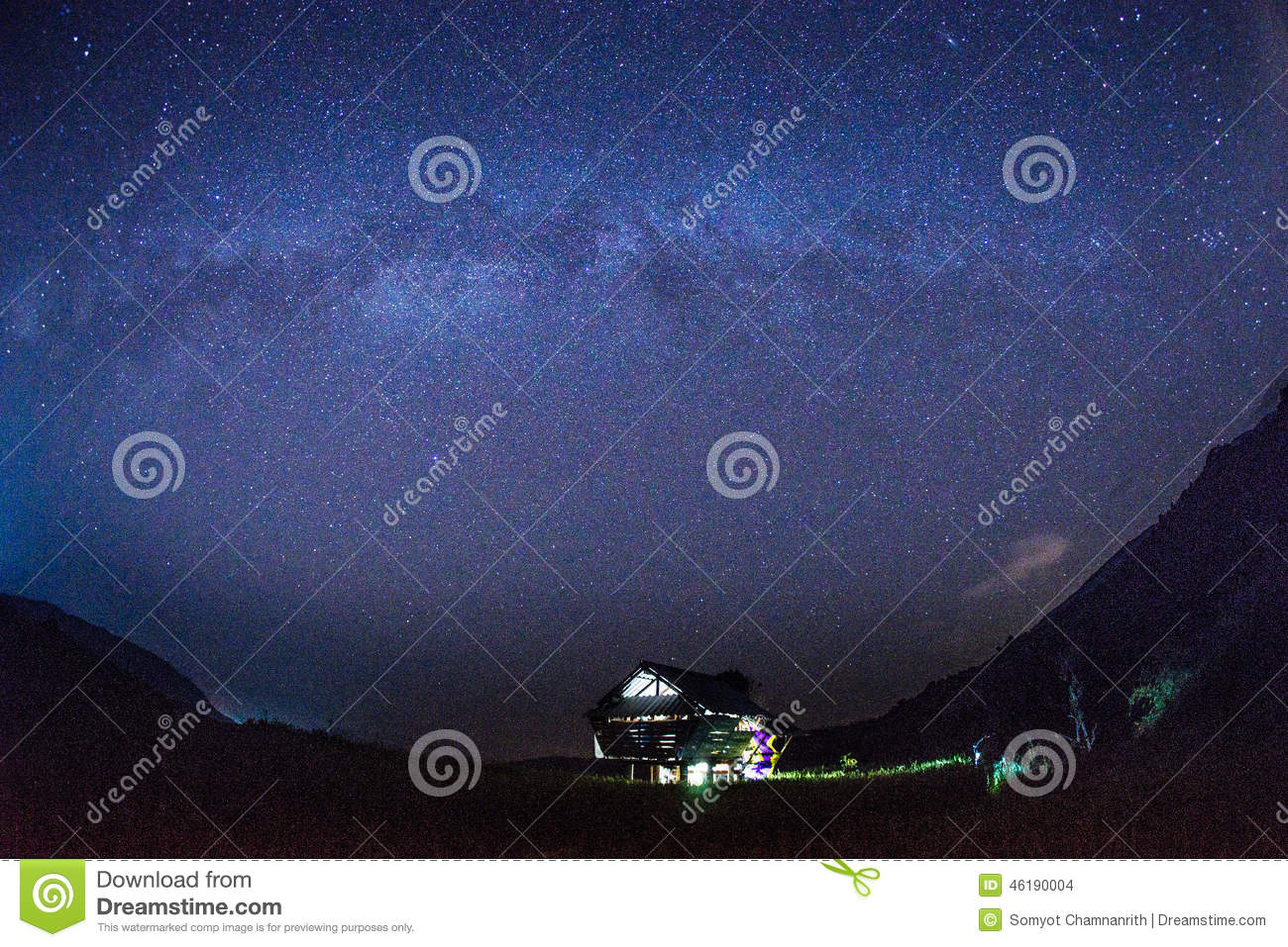 Milky way and stars over the hut