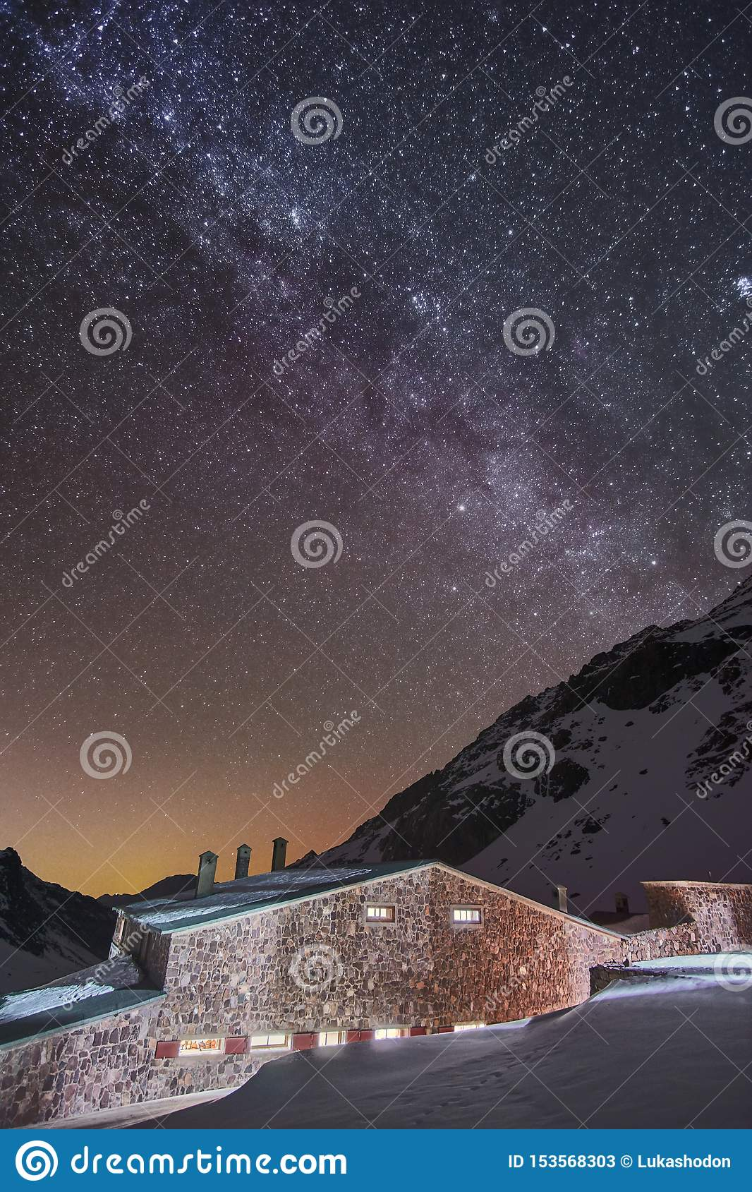 Milky way view from the mountain hut in High Atlas mountains, Morocco