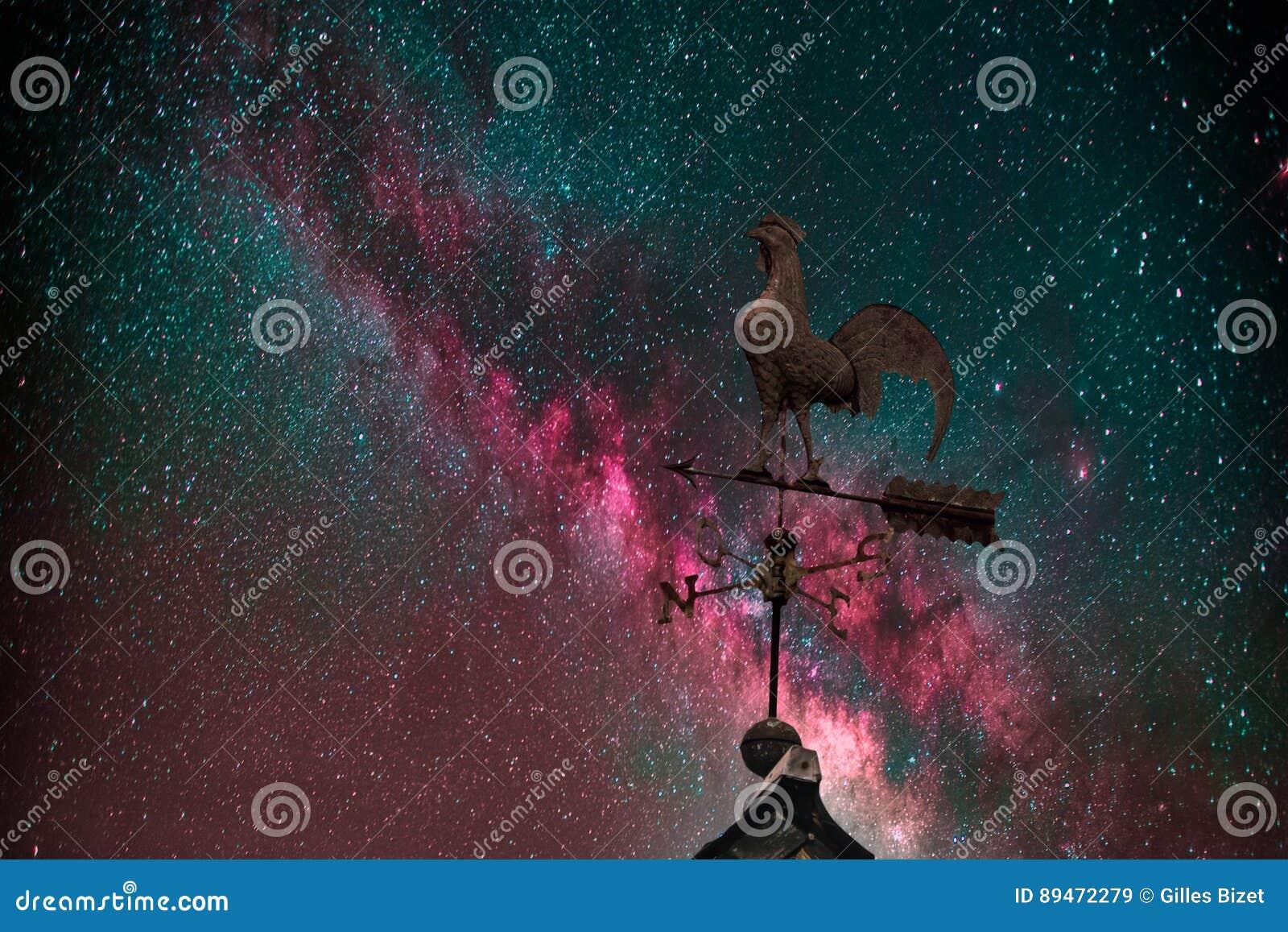 Milky Way, weather vane and stars