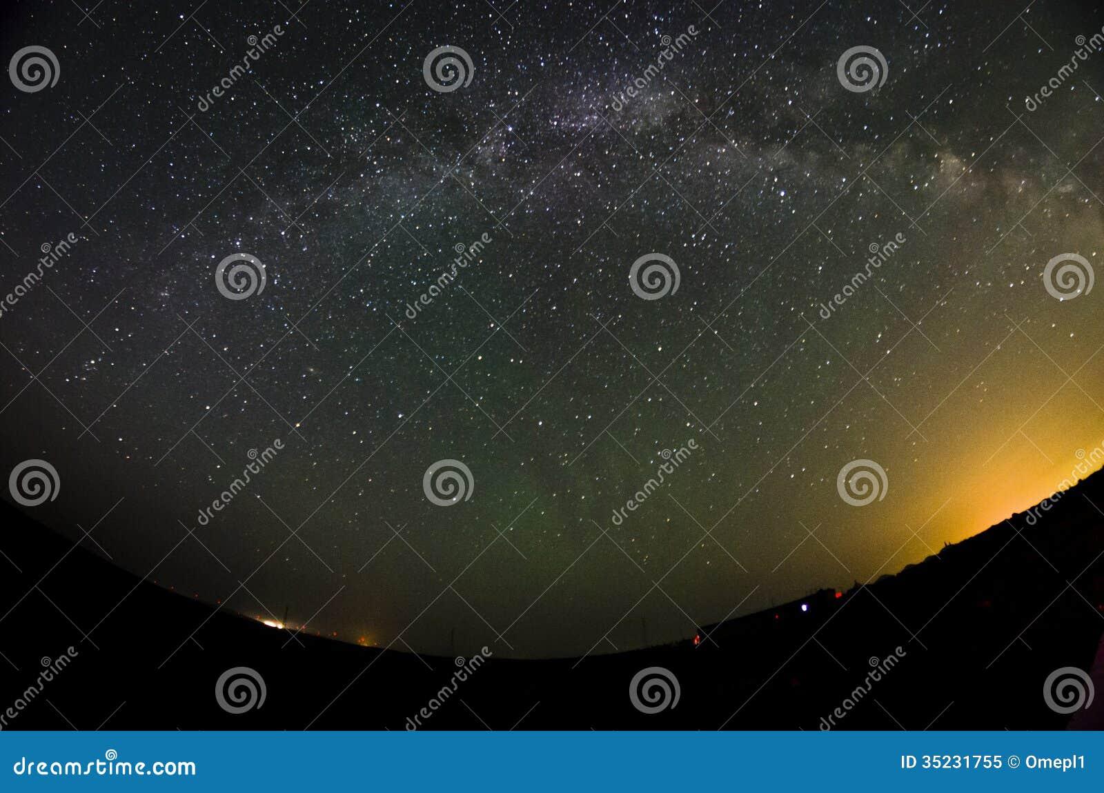 Milkyway and fade aurora