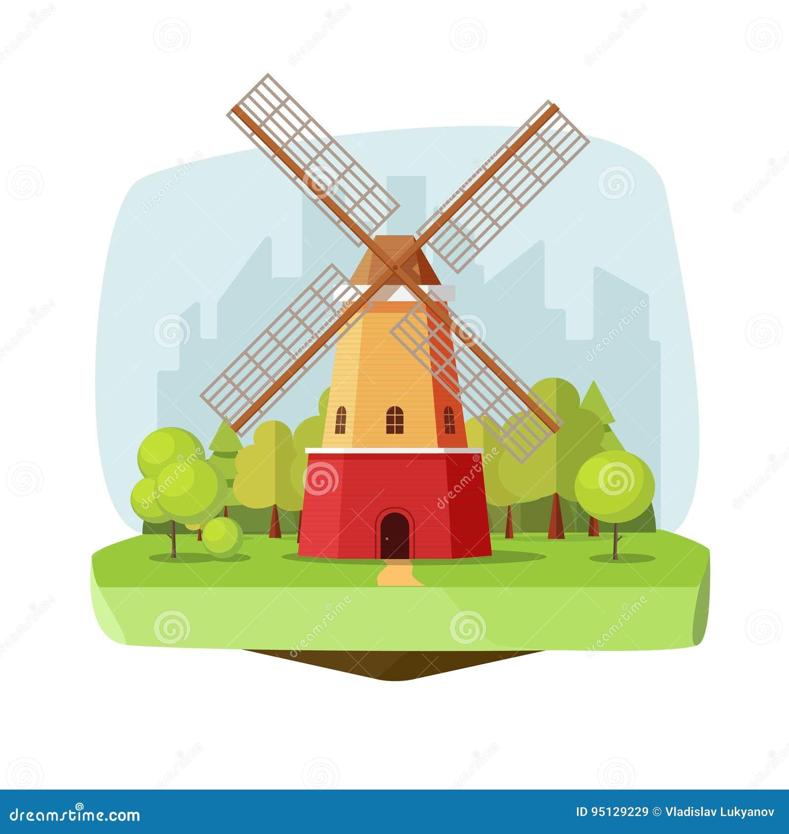 Mill Farm On Nature Landscape Vector Illustration Flat Carton Retro Dutch Windmill Near Forest On City Background Stock Vector Illustration Of Dutch Bread 95129229