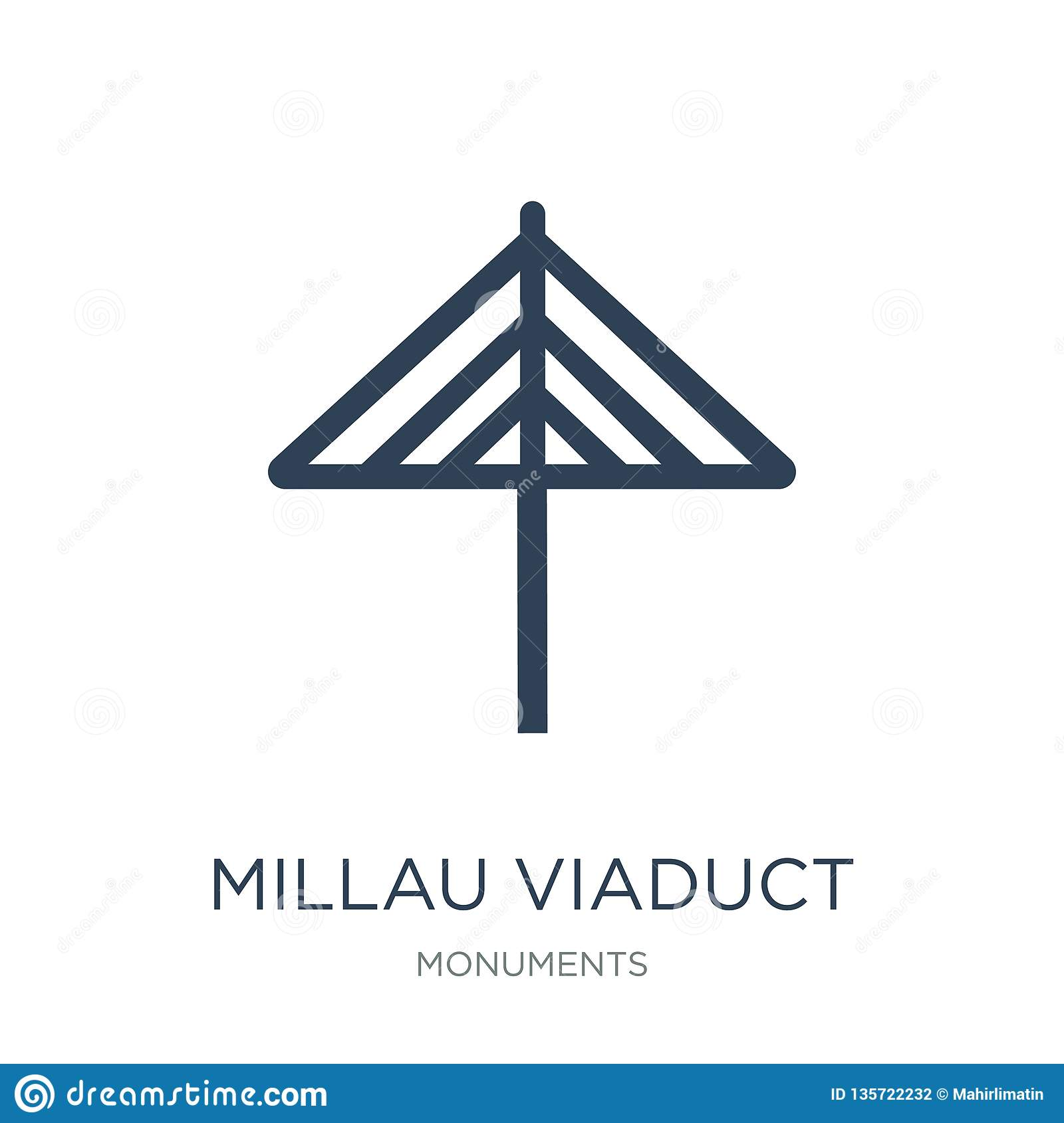 millau viaduct icon in trendy design style. millau viaduct icon isolated on white background. millau viaduct vector icon simple