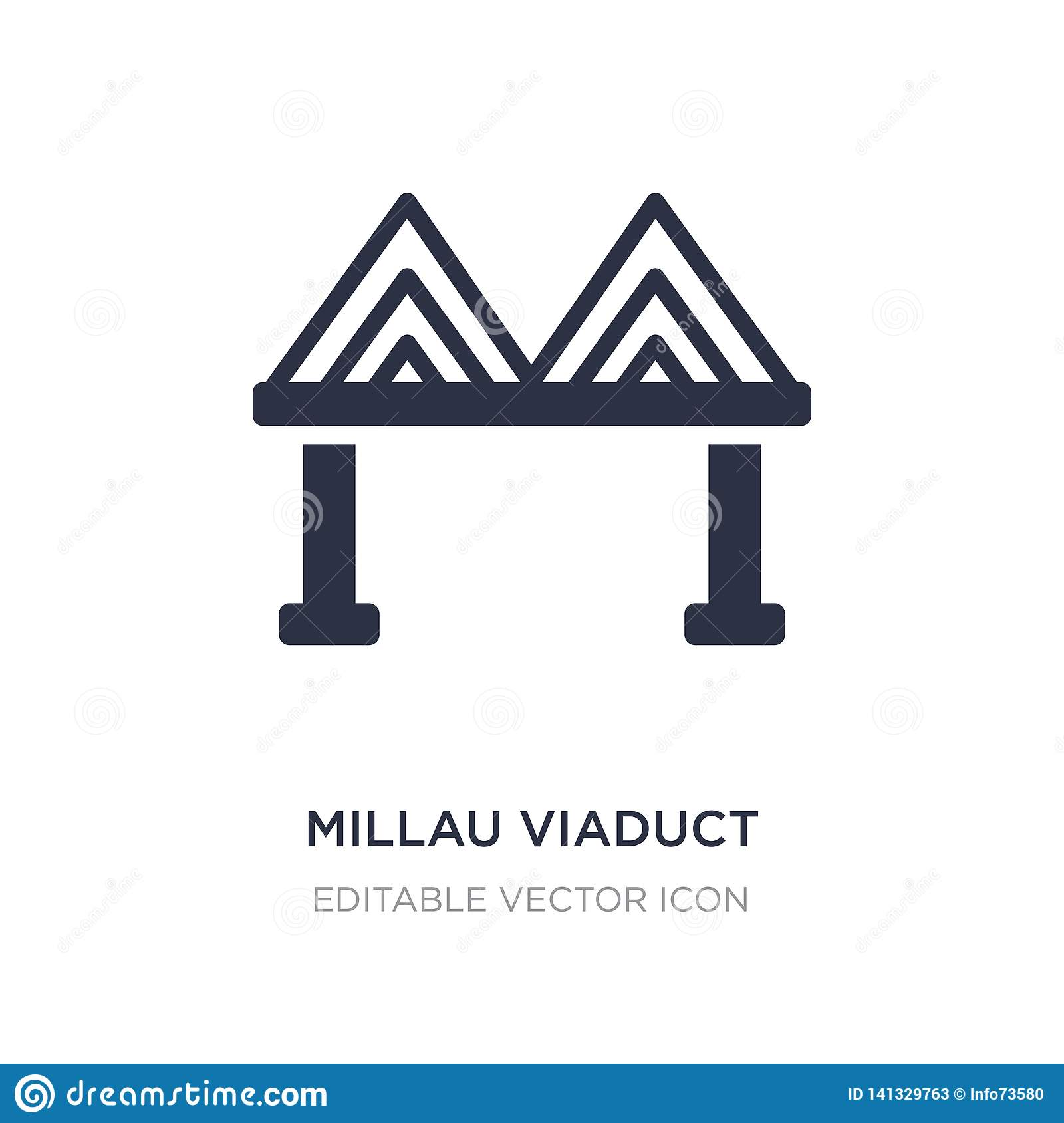 millau viaduct icon on white background. Simple element illustration from Monuments concept