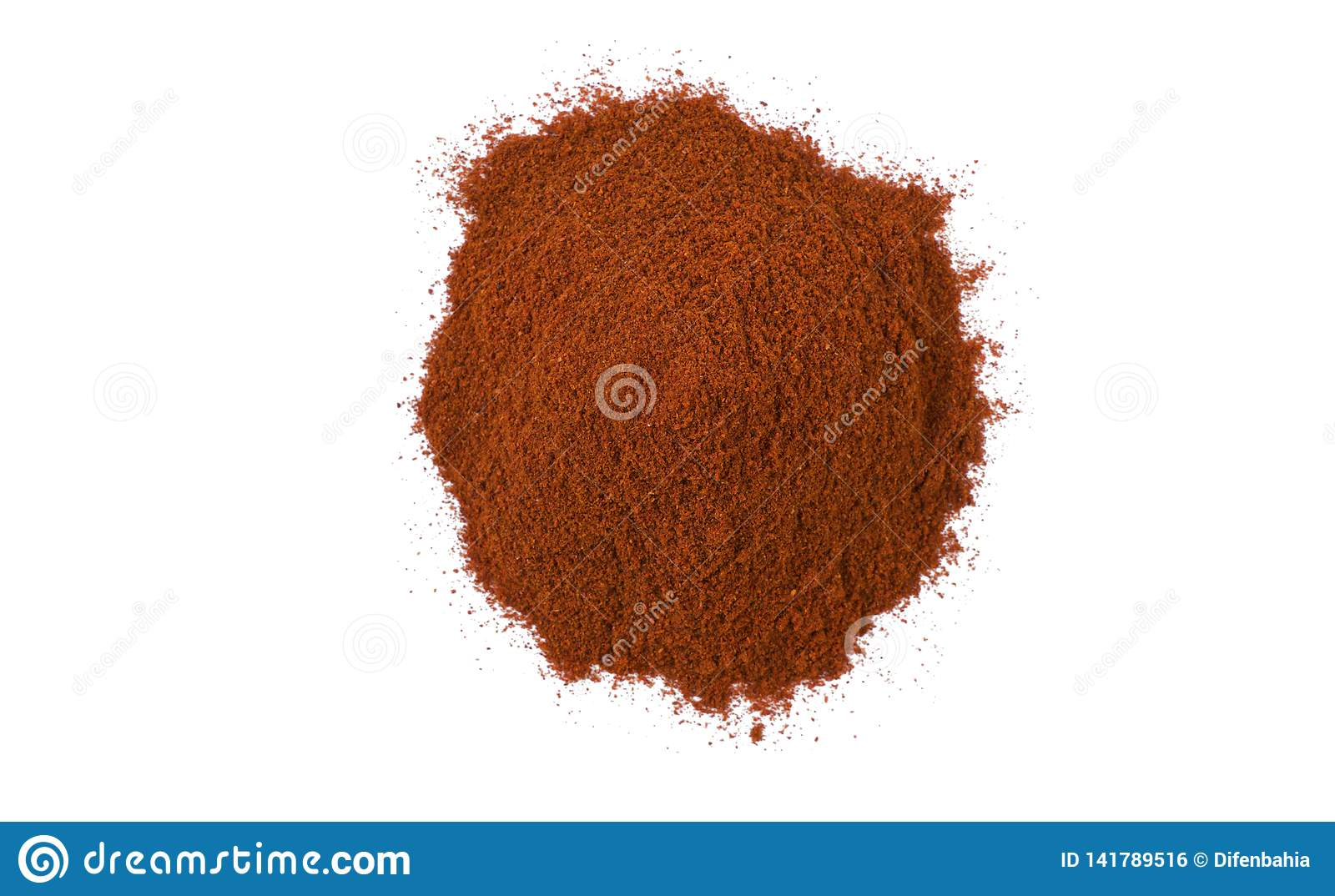 Milled or ground paprika or red pepper heap isolated on white background. top view
