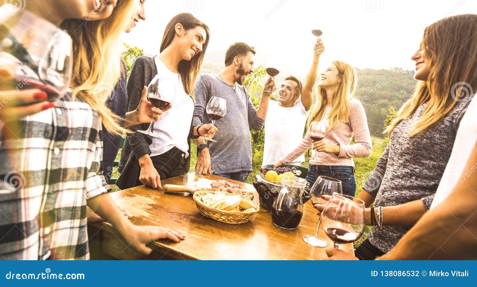 Millenial-Freunde, welche die Spaßzeit trinkt Rotwein oudoors - glückliche, haben fantastische Leute, die Ernte an der Bauernhaus