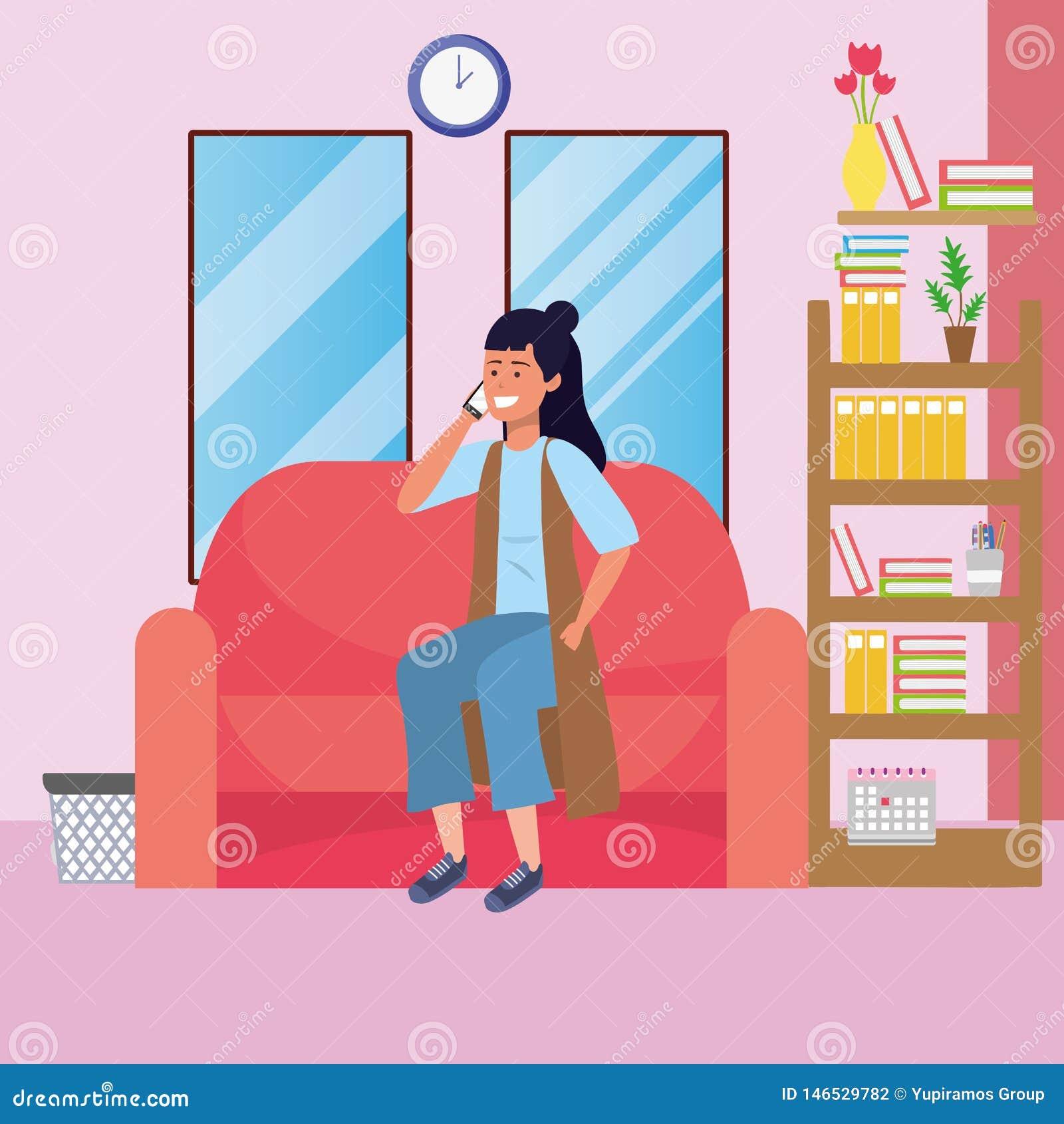 Millennial Student Dorm Room Stock Vector Illustration Of
