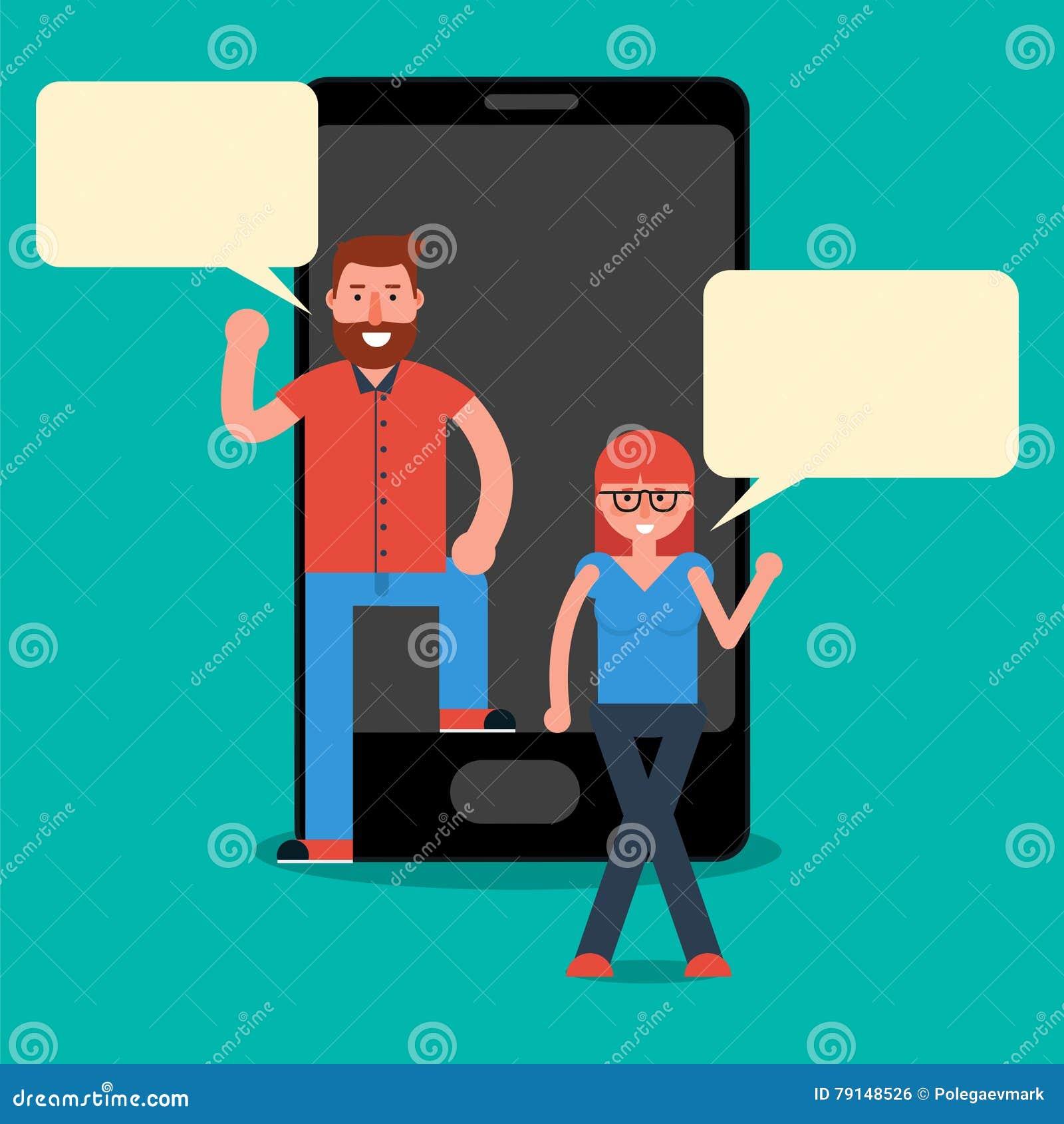 Millennials del hombre y de la mujer que mandan un SMS o que charlan vía móvil del mensajero