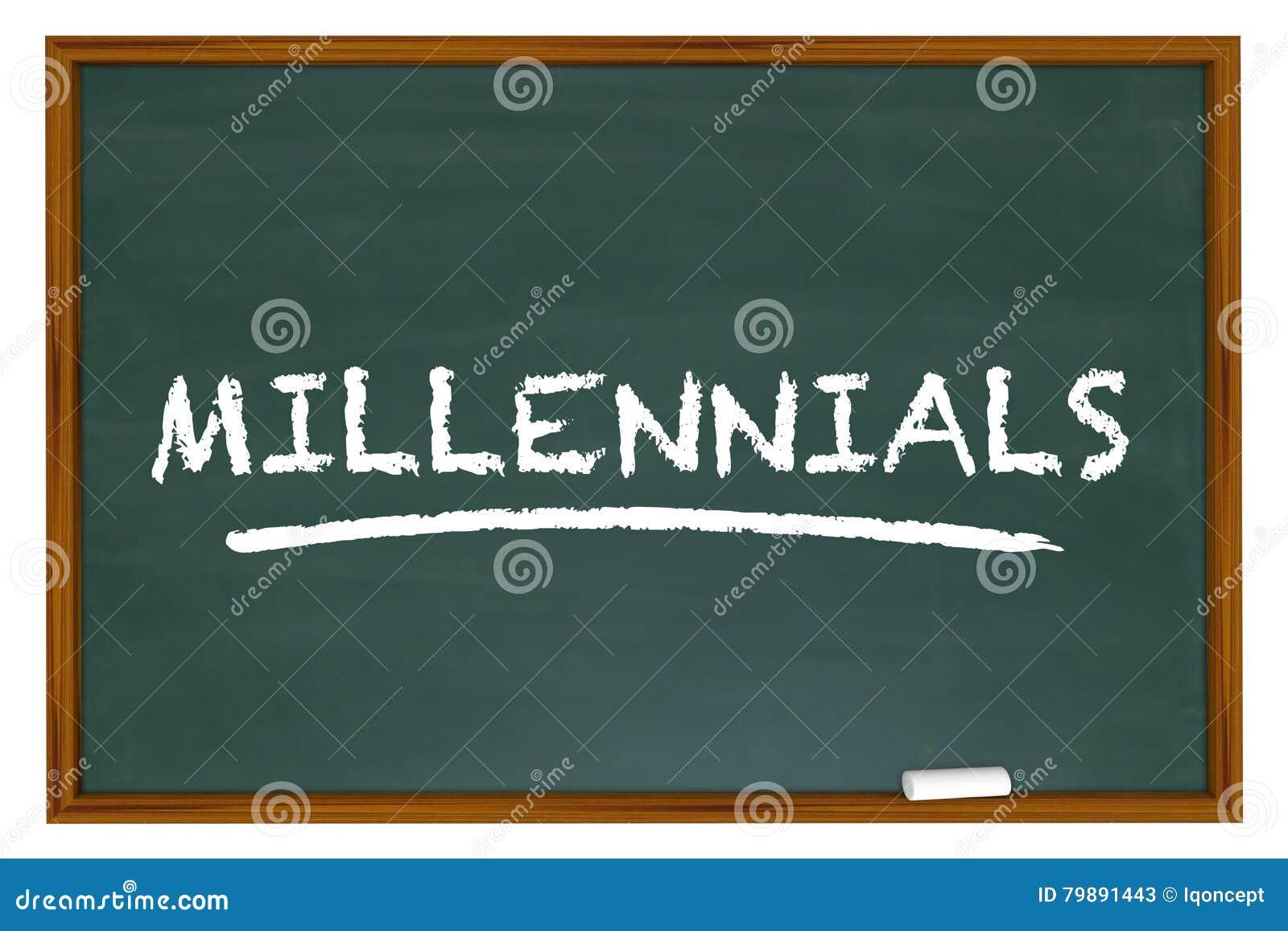 Millennials utveckling Y Demo Group Chalk Board Word