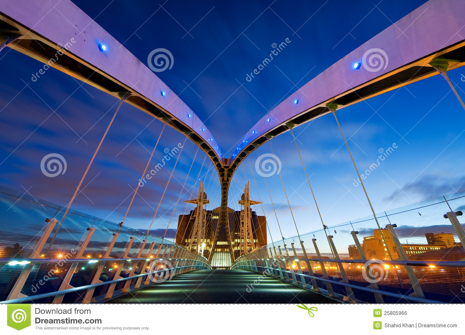 Millennium bridge manchester from inside