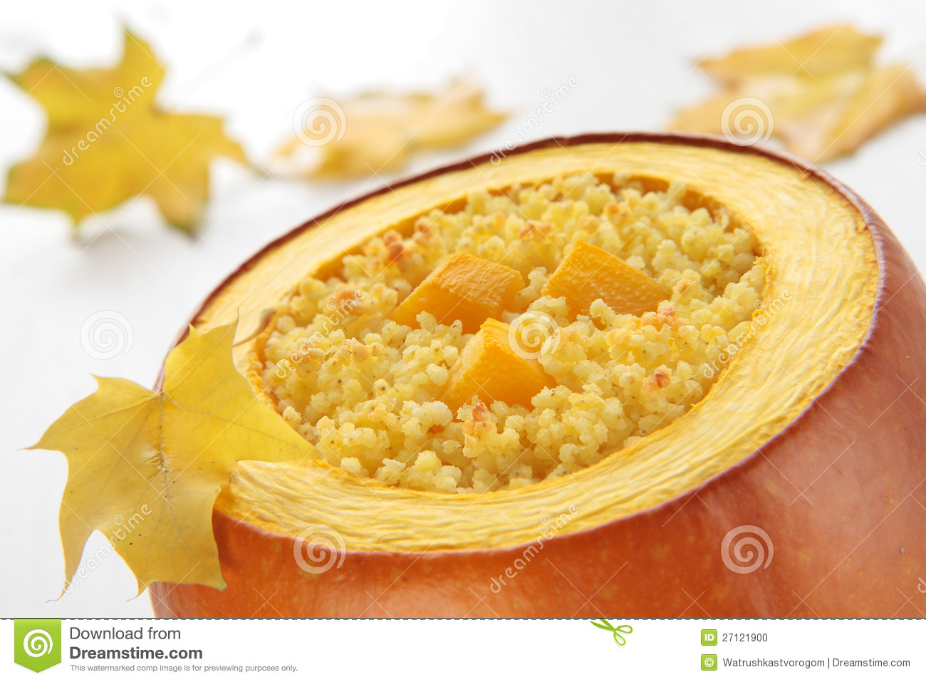 Millet Porridge Baked In Pumpkin Stock Photo - Image: 27121900