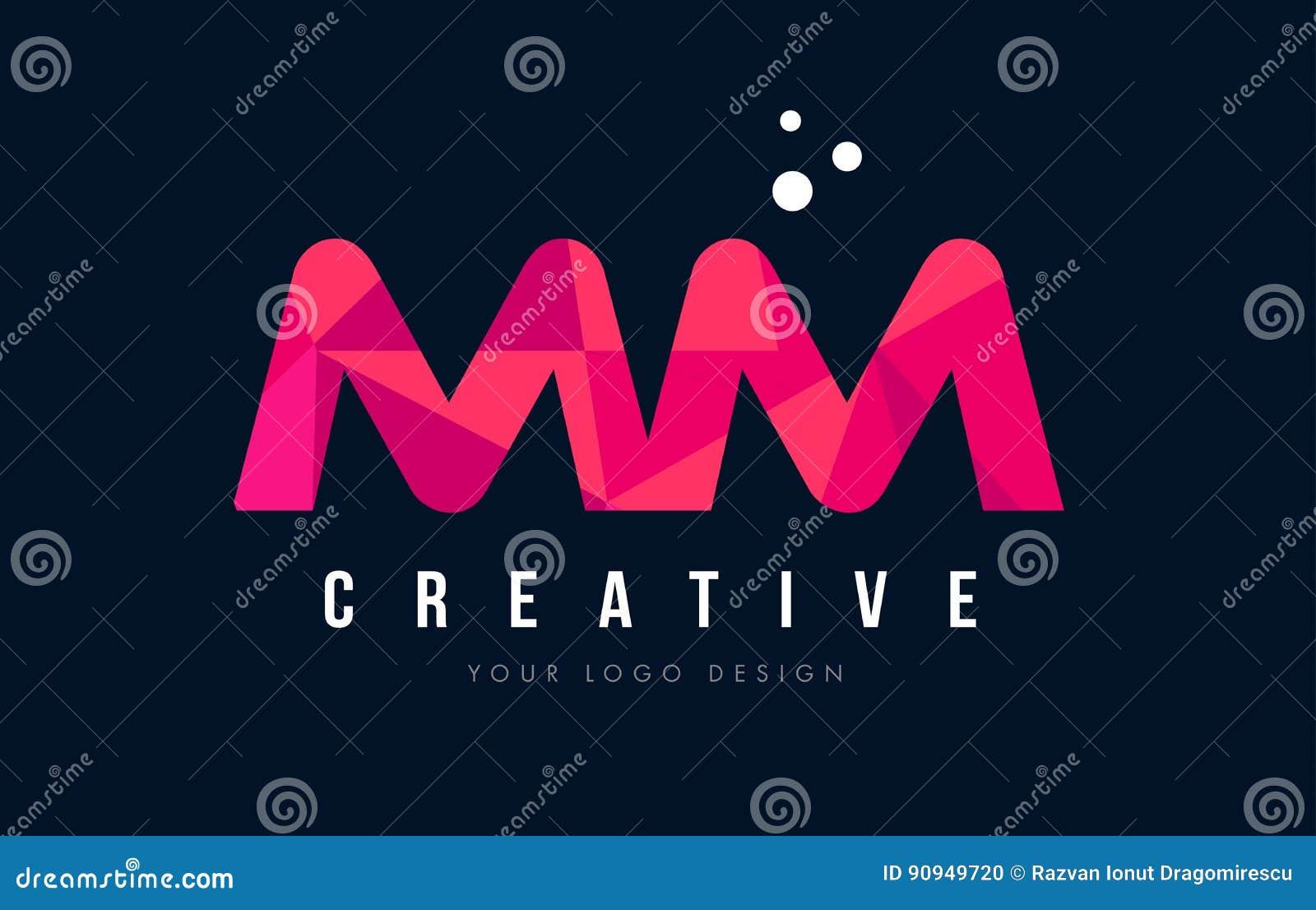 Millimetro m. m. Letter Logo con il poli concetto rosa basso porpora dei triangoli