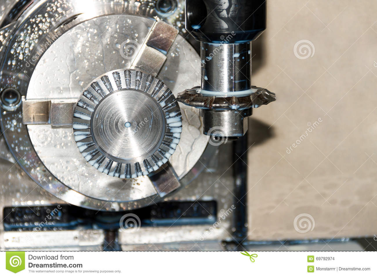 Milling Process Of Metal Detail On CNC Machine Stock Photo