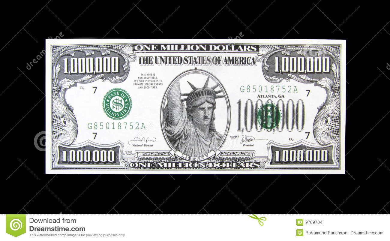 Million Dollar Bill Stock $1,000,000 Bill