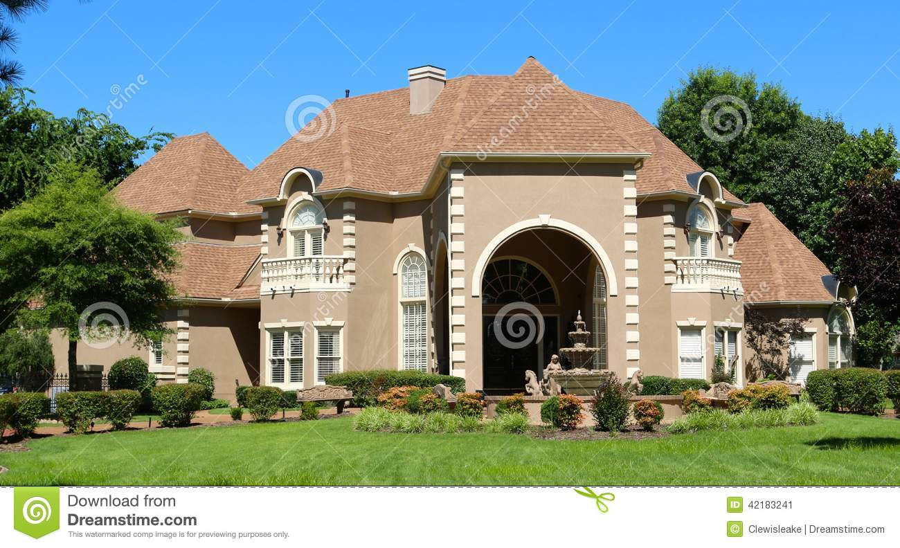 Million dollar tan and stucco upper class suburban home in germantown