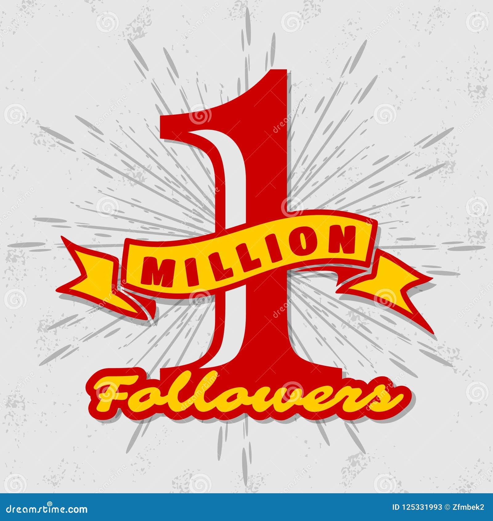 1 Million followers achivement symbol.