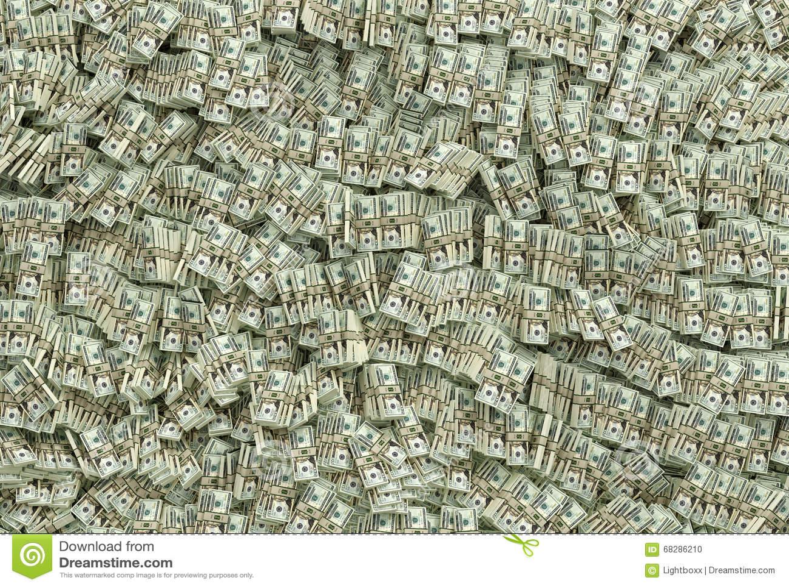 Millones De Dólares 20 Billetes De Dólar Stock De Ilustración