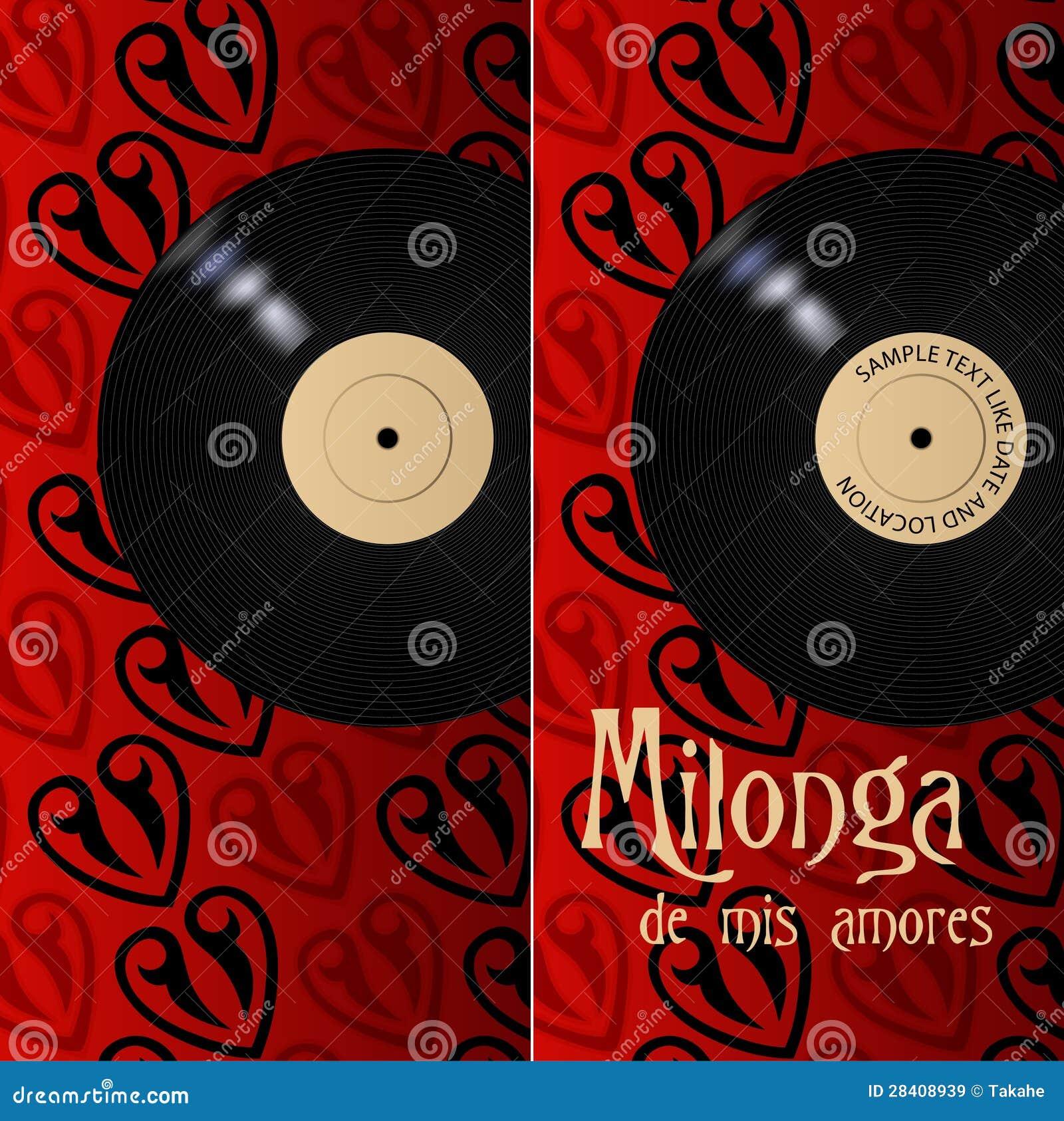 Milonga affisch och reklamblad