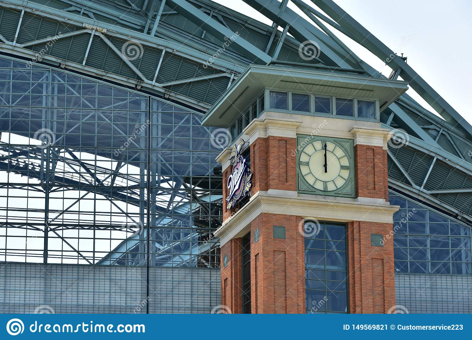 Milwaukee Brewers Miller Park Clock Tower at Noon