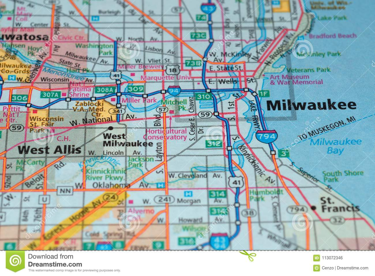 Roads On The Map Around Milwaukee City Usa March 2018 Stock Photo