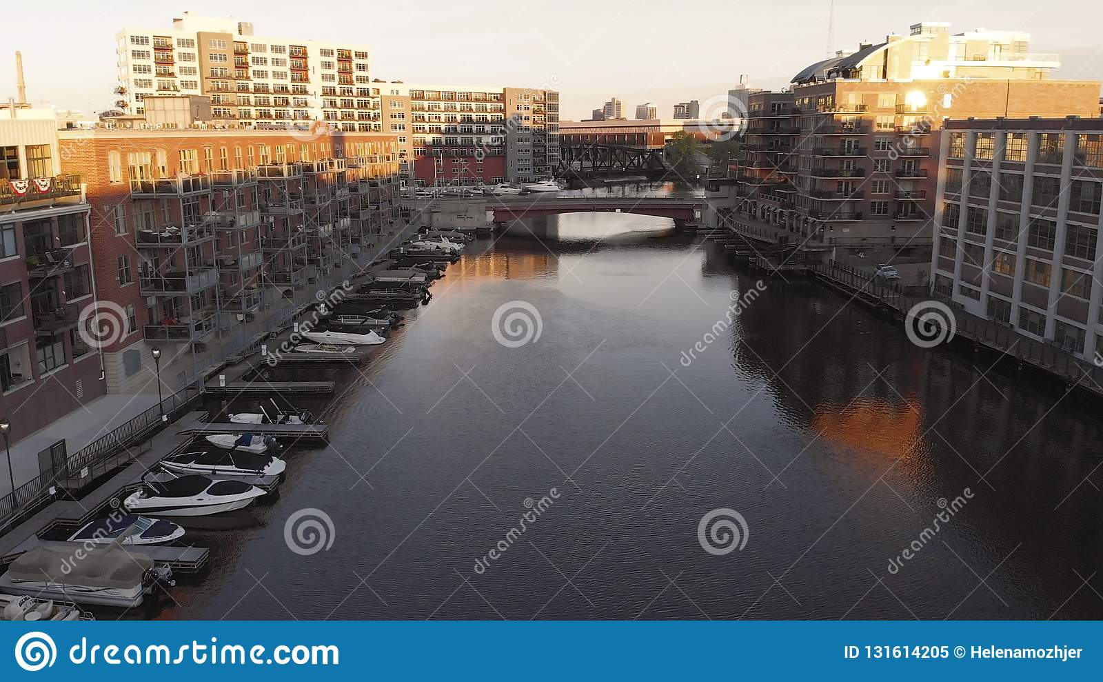 Milwaukee river in downtown, harbor districts of Milwaukee, Wisconsin, United States. Real estate, condos in downtown. Aerial view