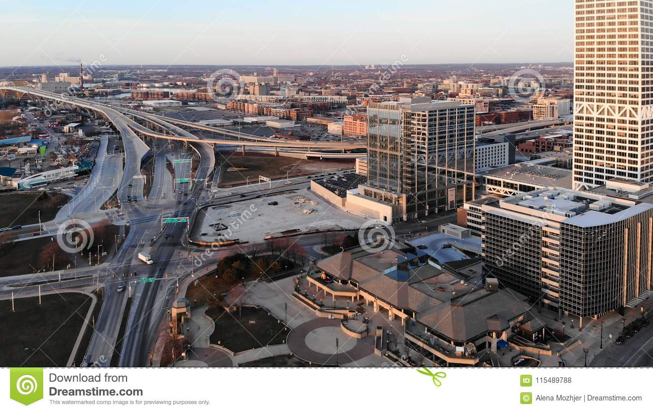 MILWAUKEE, USA - APRIL 26, 2018: Aerial view of american city a