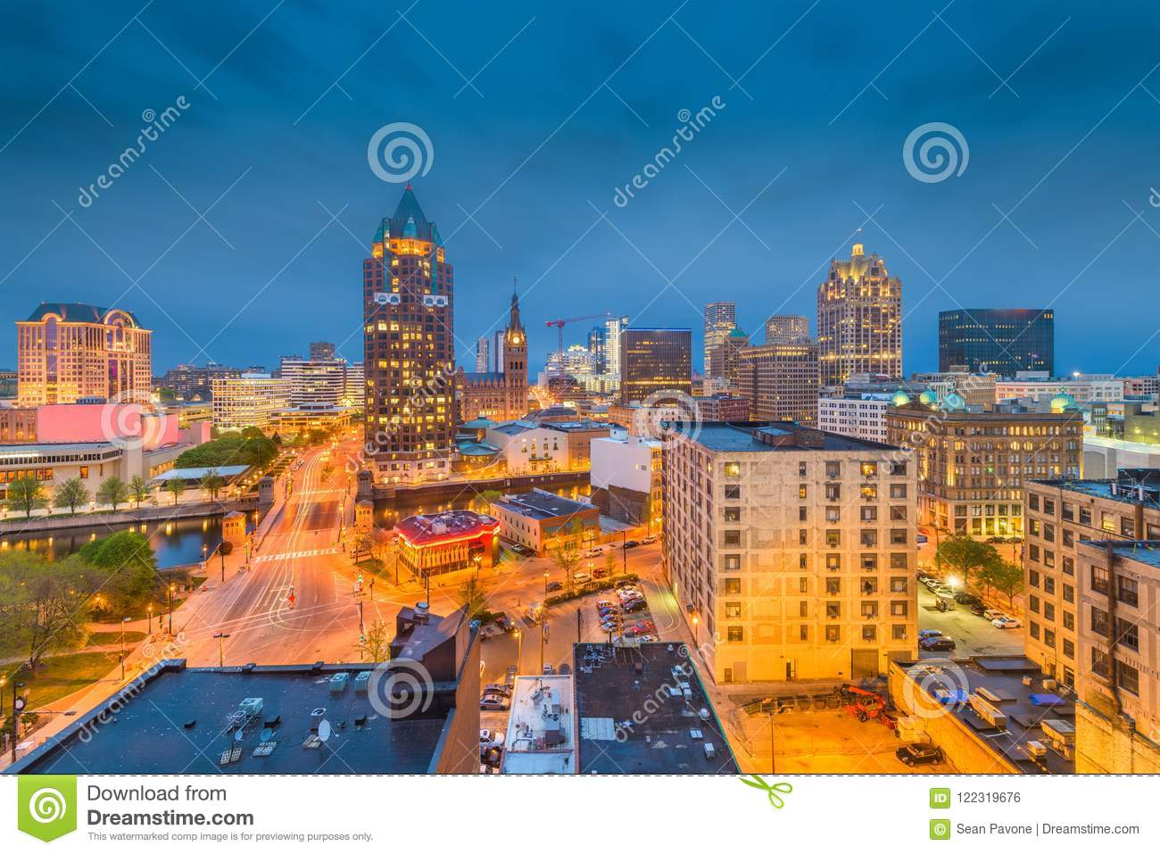 milwaukee wisconsin skyline stock photo image of aerial evening