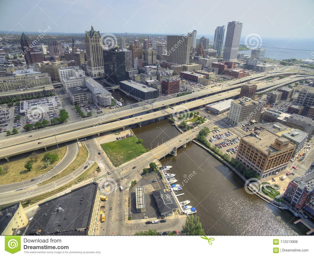 Milwaukee, Wisconsin In Summer By Drone Stock Photo - Image
