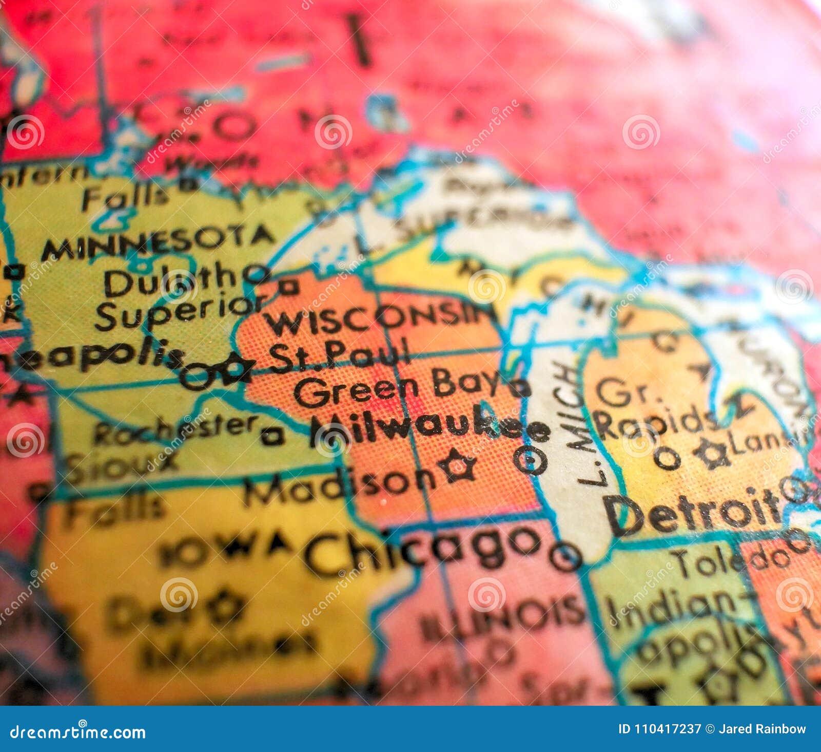 Milwaukee Wisconsin Usa Focus Macro Shot On Globe Map For Travel