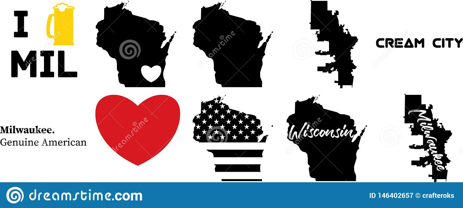 Milwaukeee Wisconsin US Map With Wisconsin Map Stock Vector ...