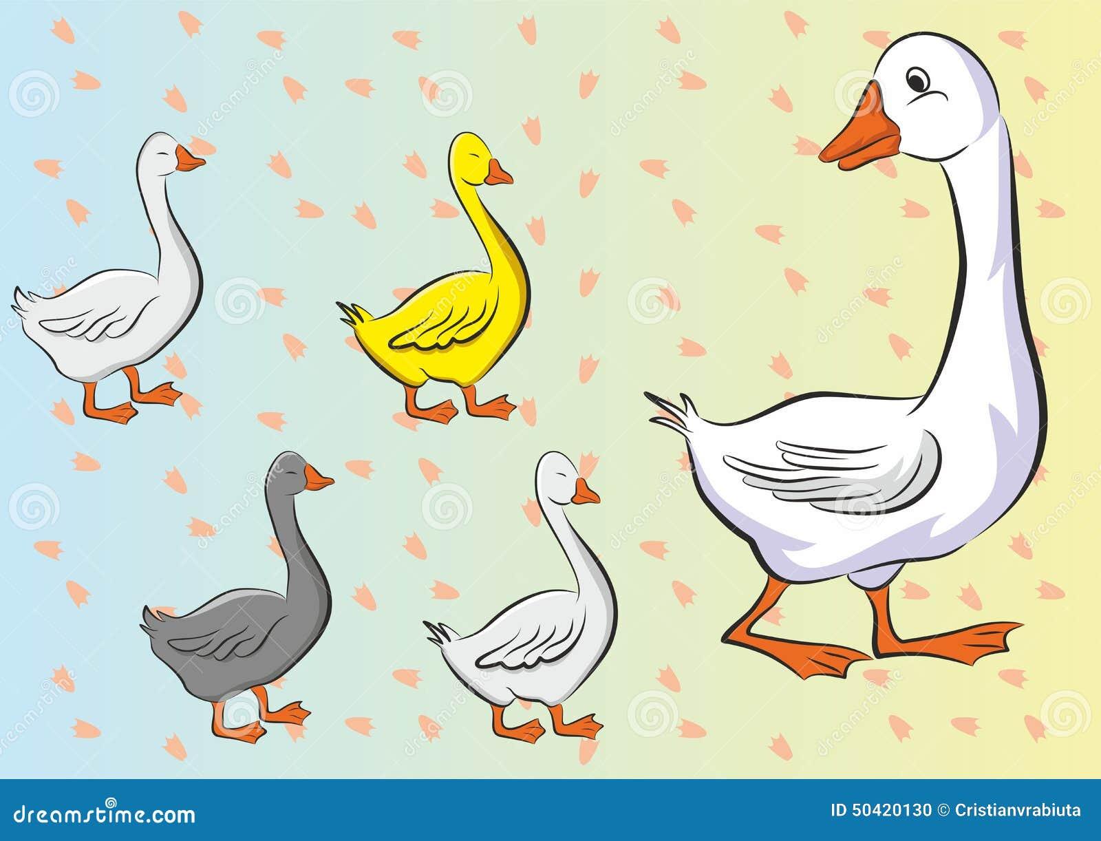 Mime al pato y a sus pequeños patos felices con el fondo de las huellas