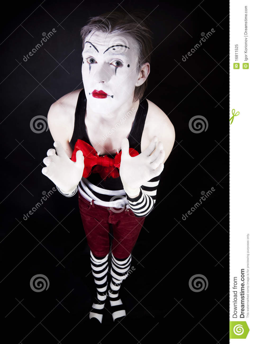 4ff00dc20fa Mime with a big red bow stock image. Image of gestures - 16811525