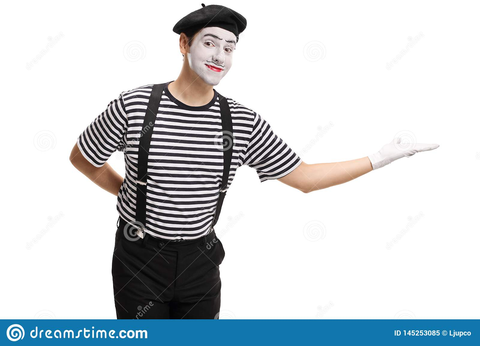 Mime gesturing welcome with his hand