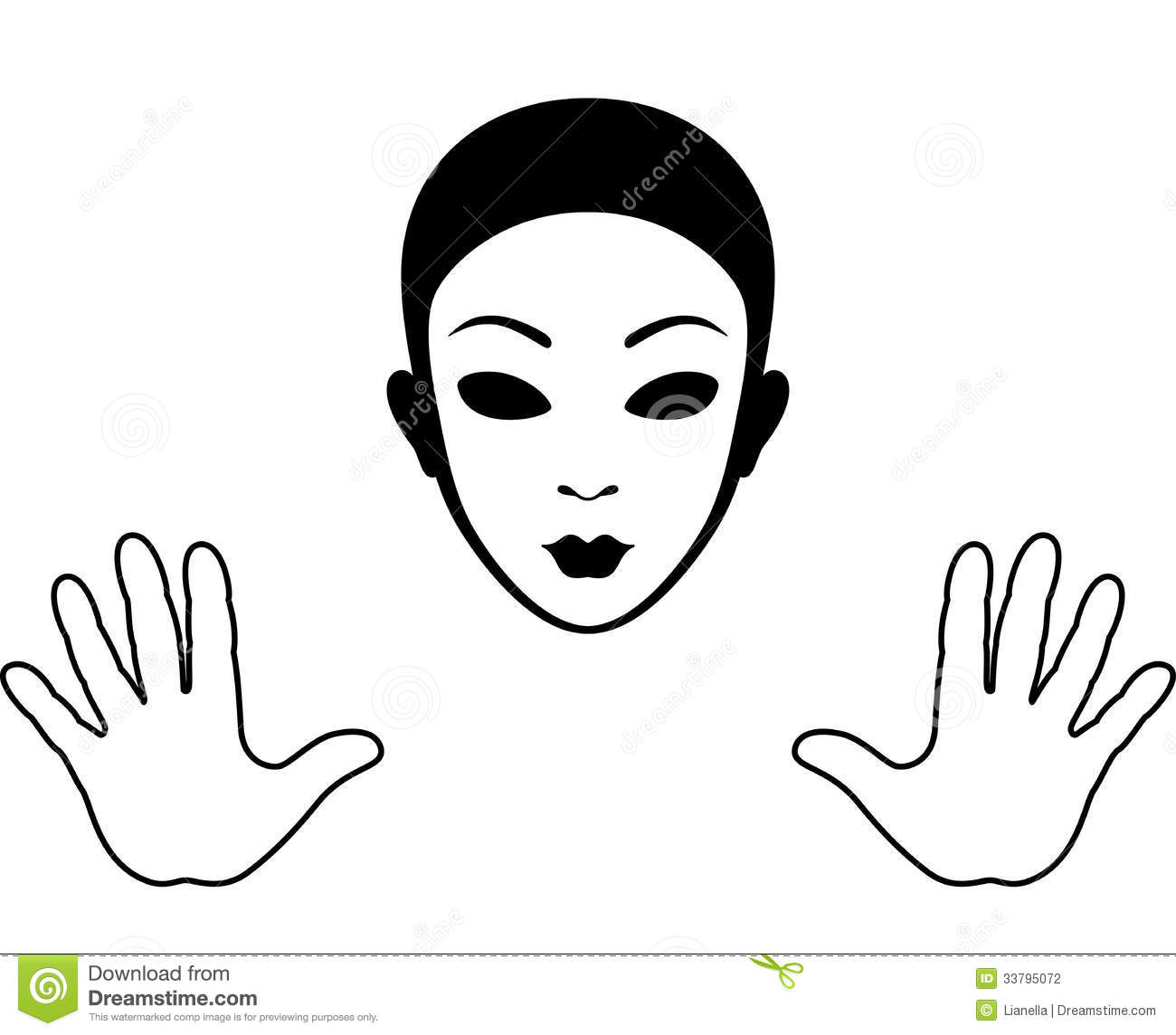 Mime Mask And Hands Silhouette Stock Photography - Image ...