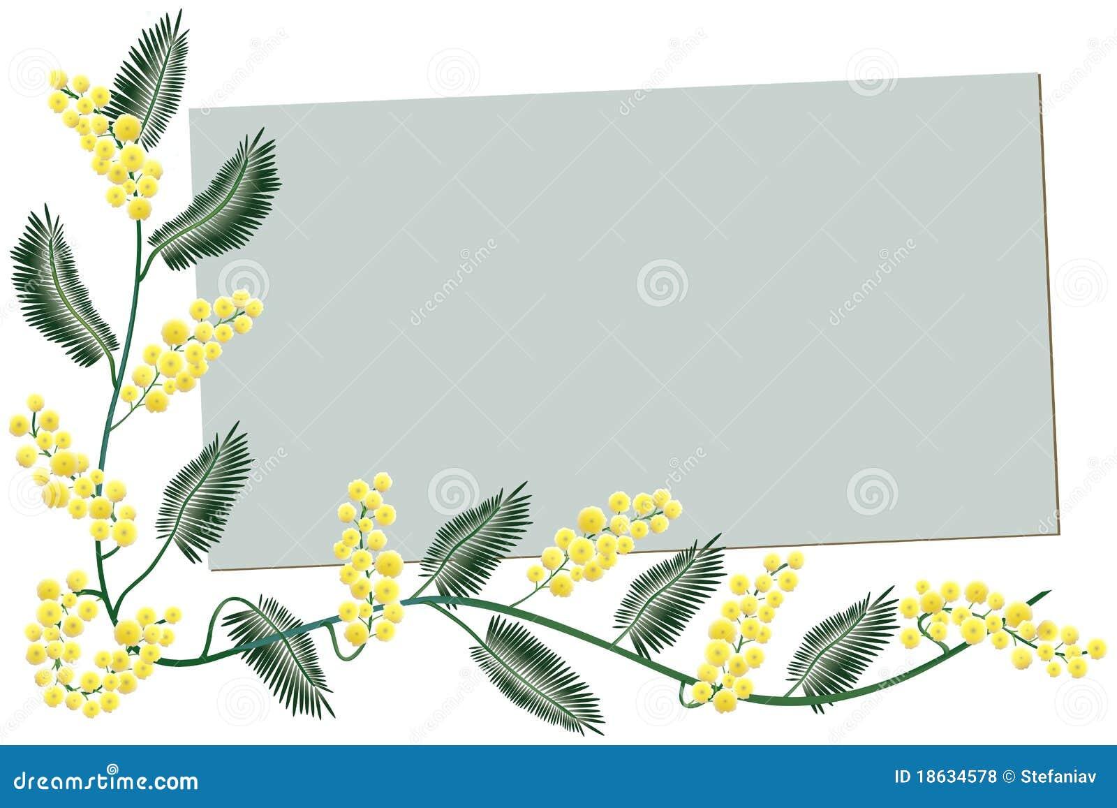 Holiday Wishes Message Mimosa Border - Greeti...