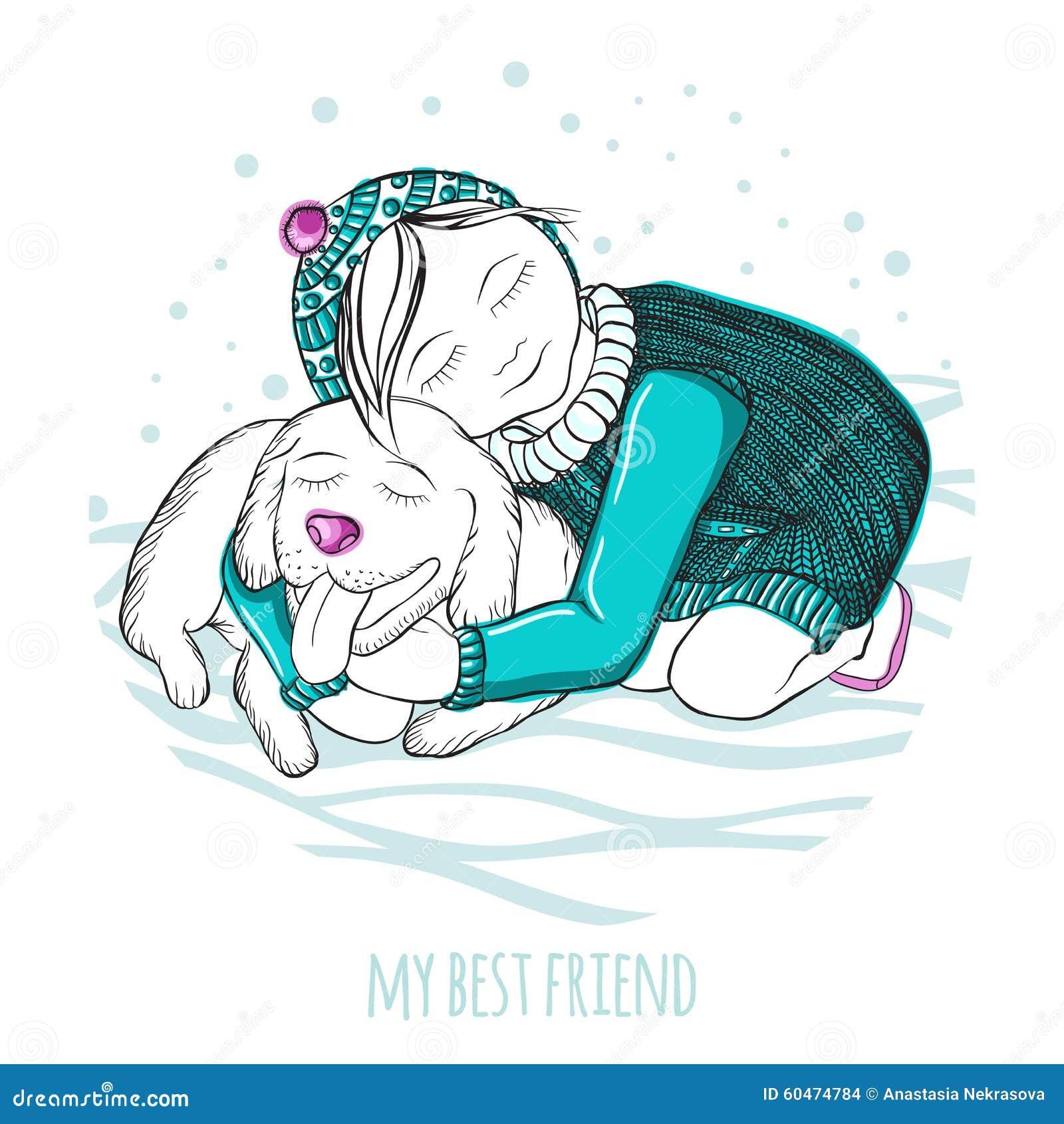 Min bästa vän Liten flicka som kramar en bra hund teckningen hand henne morgonunderkläder upp varmt kvinnabarn Pingvinet på en is