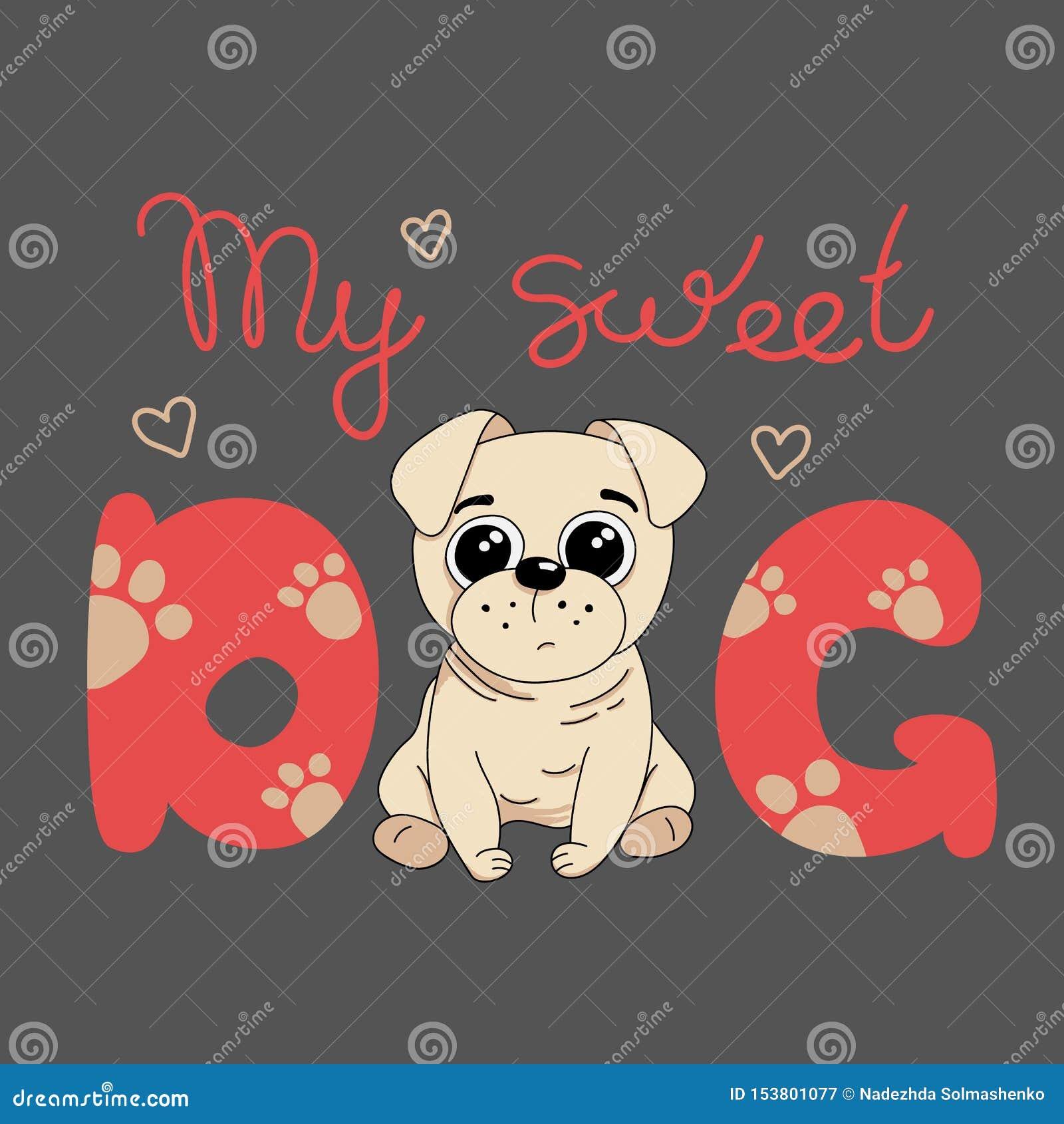 Min gulliga hund, mopsvalp ocks? vektor f?r coreldrawillustration