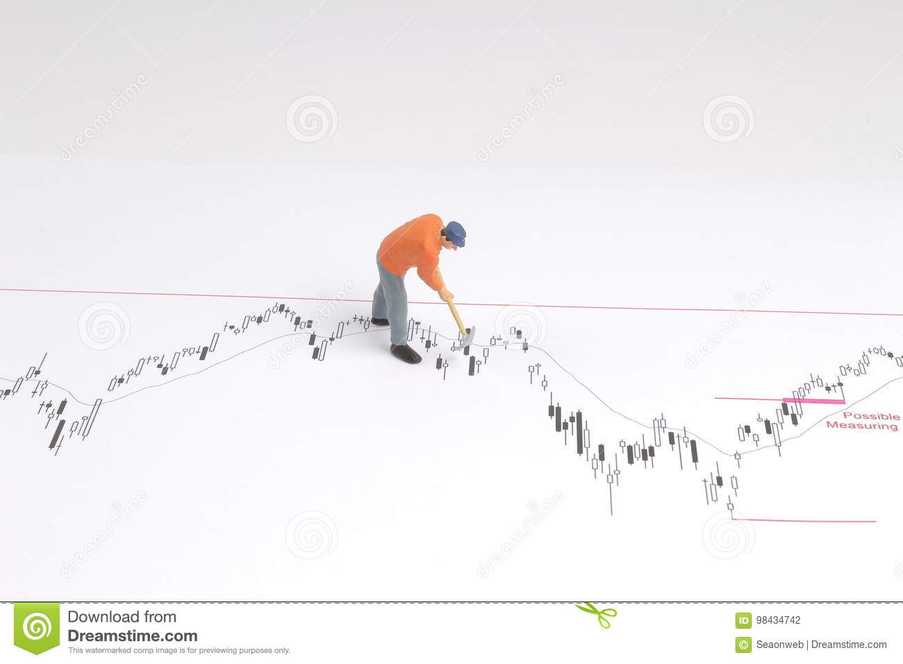 min worker with pickaxe working on a graph stock photo image of