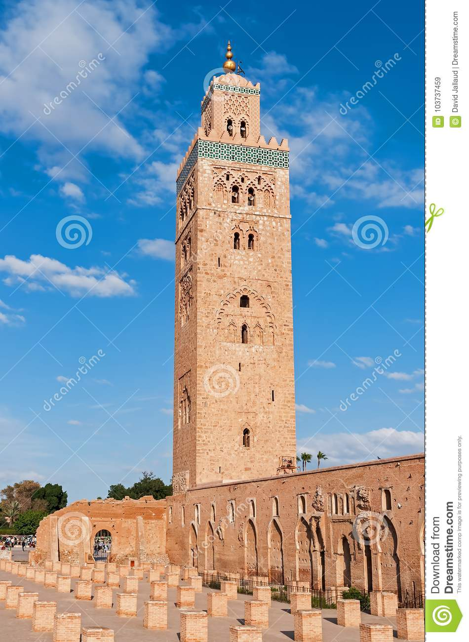 Minaret Of The Koutoubia Mosque Marrakech Morocco Stock Image Image Of African Architecture 103737459