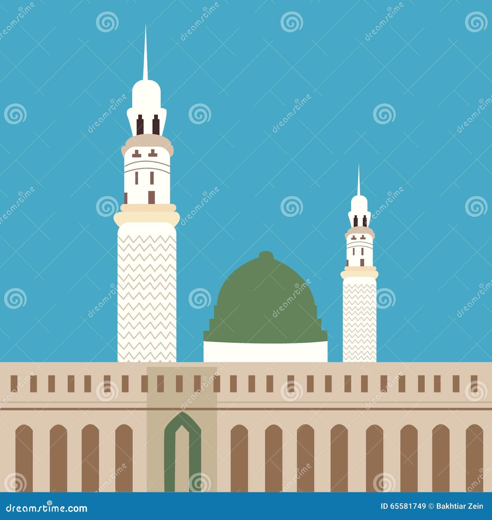 Minarete da abóbada da adoração do Islã do madina da mesquita de Nabawi