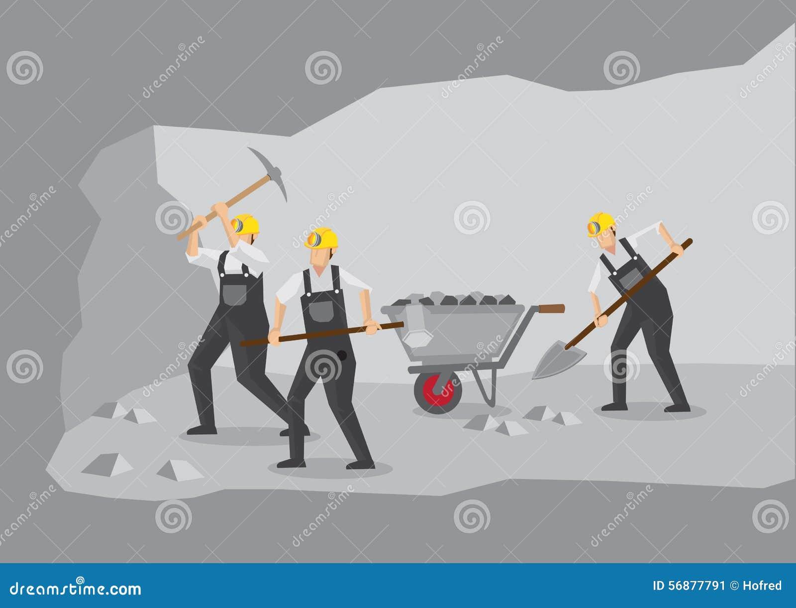 Minatori delle miniere di carbone che lavorano nell illustrazione di vettore della miniera in sotterraneo